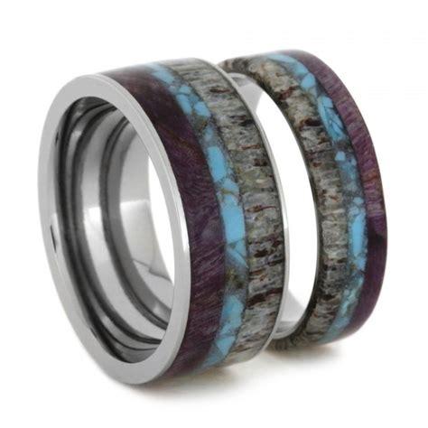 Unique Ring Set, Titanium Wedding Bands Set With Turquoise