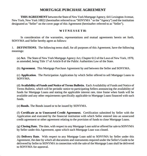 11 Mortgage Agreement Templates Sle Templates Mortgage Loan Contract Template