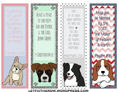 Printable Bookmarks Of Dogs | dog bookmarks letfaithgrow