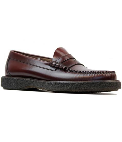 crepe sole loafers bass weejuns larson mod crepe sole loafer shoes in wine