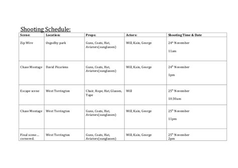 Shooting Schedule Template Shooting Schedule Template