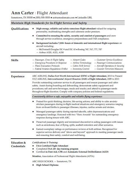 Flight Attendant Resume Objective by Flight Attendant Resume Sle
