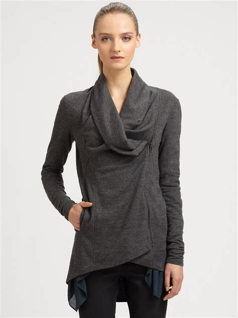 draped jacket helmut lang draped jacket in gray grey lyst