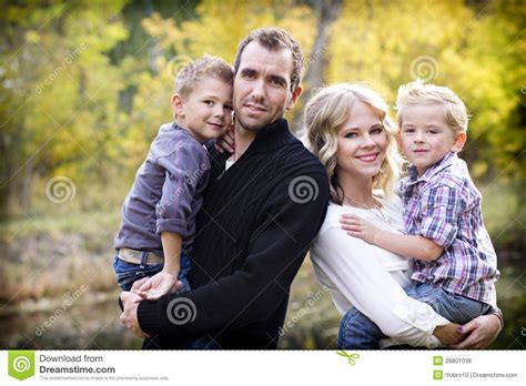 beautiful family beautiful young family portrait with fall colors royalty