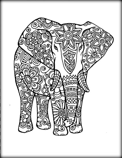 geometric elephant coloring pages printable mandala coloring pages color zini