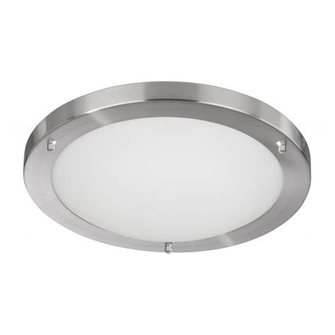 Flush Ceiling Lights Searchlight 10632ss Bathroom Lights 1 Light Satin Silver Flush Ceiling Light
