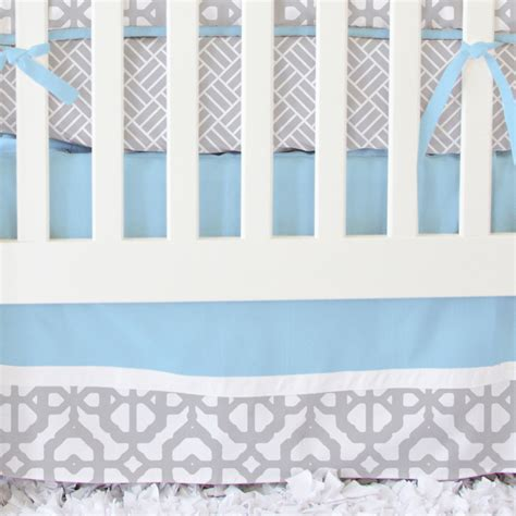 Blue And Gray Crib Bedding Sets Mod Lattice Crib Bedding Set In Vintage Blue And Gray By Caden