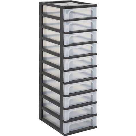 tour tiroirs plastique tour de rangement plastique l 26 x p 82 x h 35 5 cm