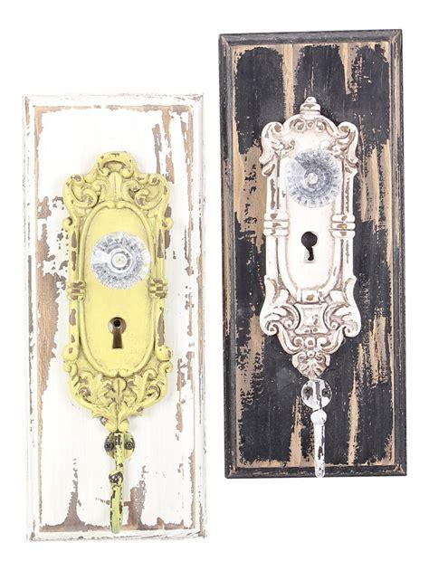 Wall Hooks Door Knobs Painted Distressed Wood Vintage Look Ornate Glass Door
