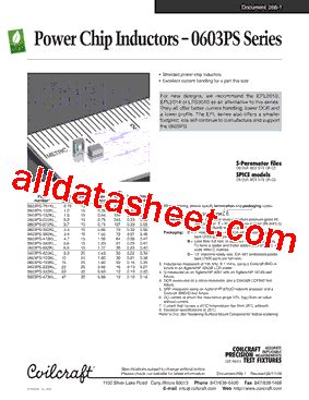chip inductor datasheet 0603ps 472kl datasheet pdf coilcraft lnc