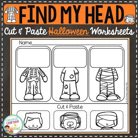 find my head cut & paste worksheets: halloween ~digital