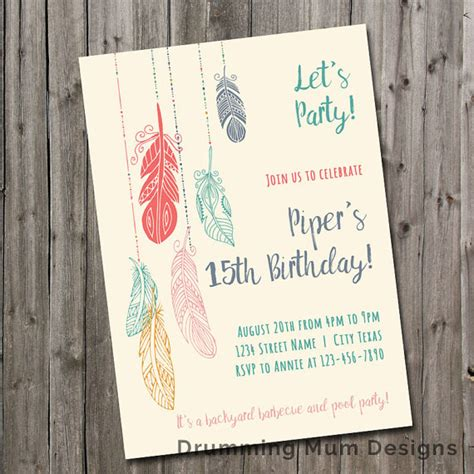 printable birthday invitations for 15 year olds feather birthday party invitation teen girl tween birthday