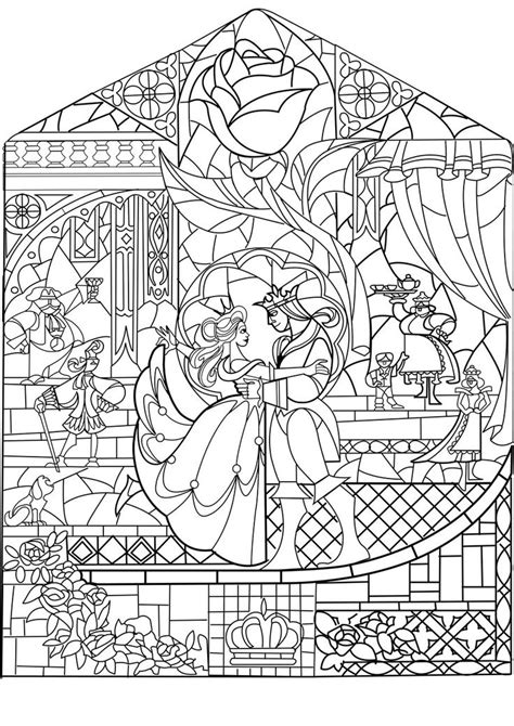Beauty And The Beast Stained Glass Coloring Pages | beauty and the beast stained glass art to be appreciated