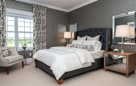 black grey and blue bedroom blue tufted headboard contemporary bedroom