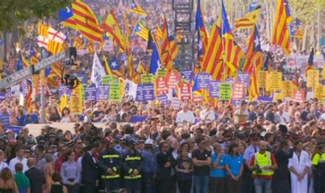 barcelona unrest barcelona terror protest thousands march on city in