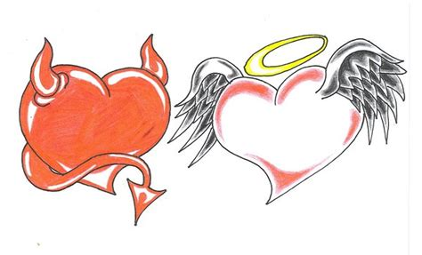 angel and devil heart tattoo designs
