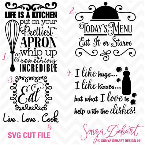 sale svg cuttables kitchen quotes cut files set dxf