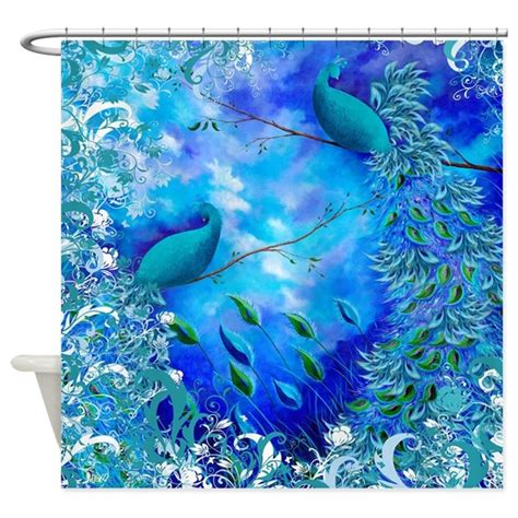 teal bird curtains exotic birds teal blue print shower curtain by juleezart