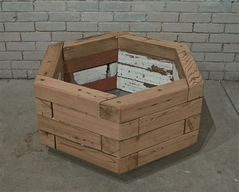 reclaimed hexagonal wood planter 1 custom by rushton llc