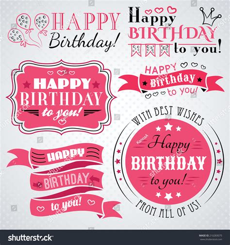 happy birthday vintage design happy birthday greeting card collection holiday stock