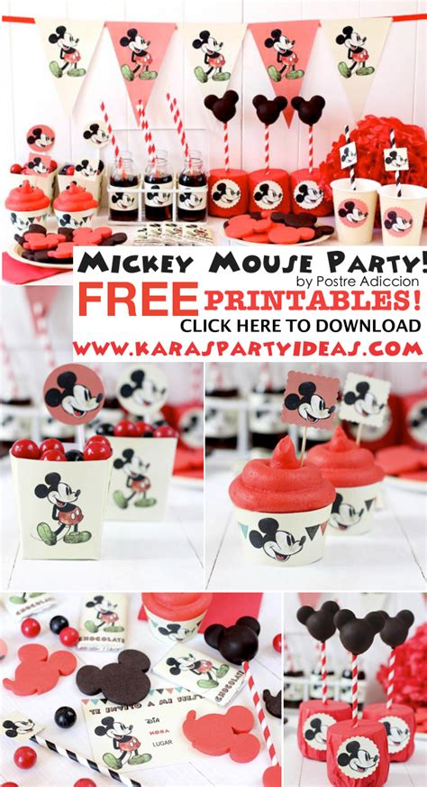 printable birthday theme ideas kara s party ideas mickey mouse themed birthday party with