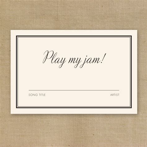 Letter Dj Song Diy Printable Wedding Dj Song Request Card By Theniadesigns