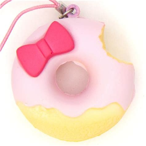 Squishy Helo pink hello donut squishy charm with ribbon food squishies squishies shop modes4u