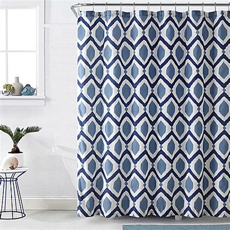white and navy shower curtain vcny santa fe shower curtain in navy white bed bath beyond