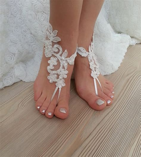 lace barefoot sandals ivory barefoot lace sandals wedding anklet