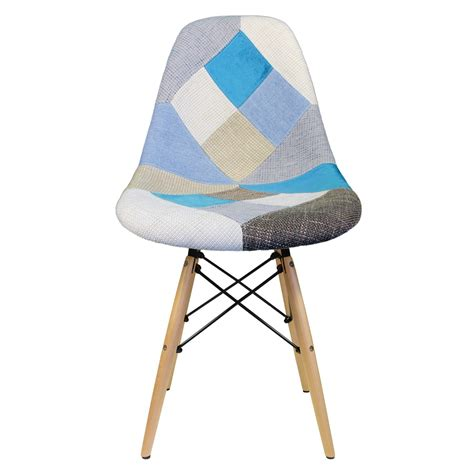 Patchwork Dining Chairs - patchwork fabric upholstered mid century eames style