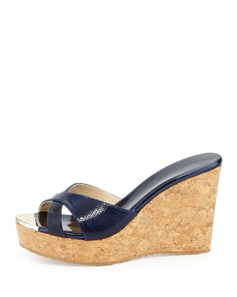 Jimmy Choo Sandal Wedges Jimmy Choo Pandora Snakeprint Wedge Slide Sandal In Blue