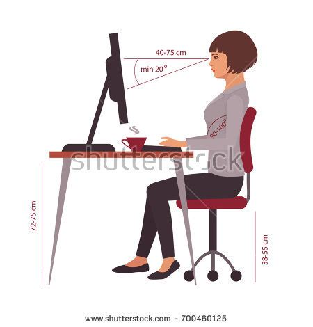 Office Desk Posture Correct Stock Images Royalty Free Images Vectors