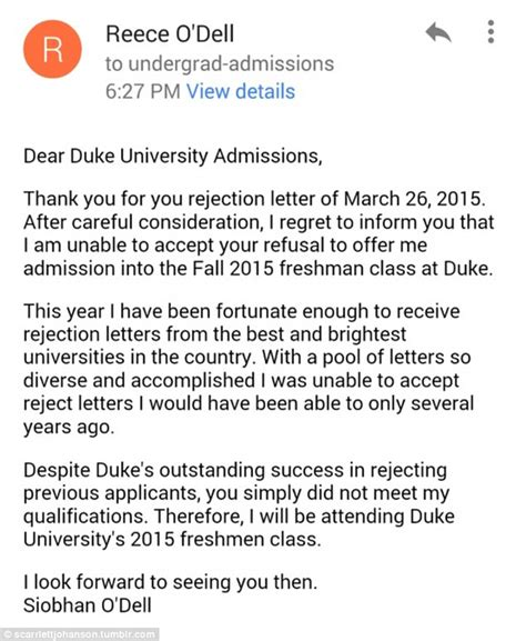 Regret Letter Unable To Attend Event Siobhan O Dell S Turns Duke College Rejection Letter Daily Mail