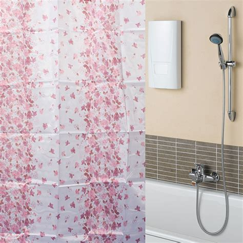 210cm shower curtain 170x180cm bathroom red floral waterproof polyester fibre