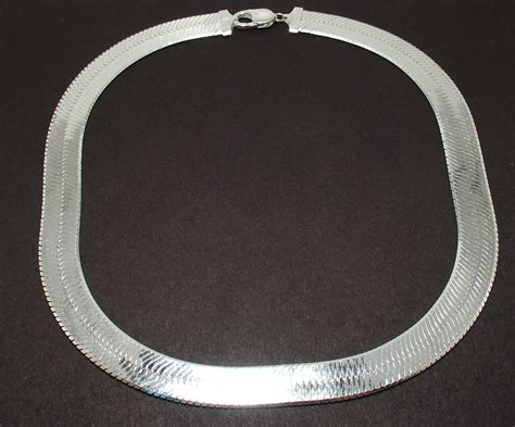 14mm bold wide herringbone chain necklace solid 925