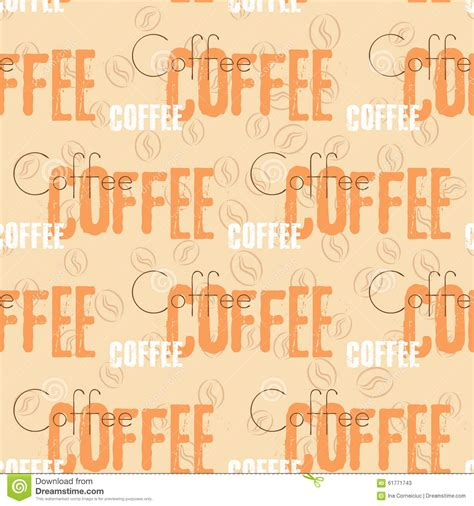 seamless pattern text coffee text seamless pattern beige word stock vector