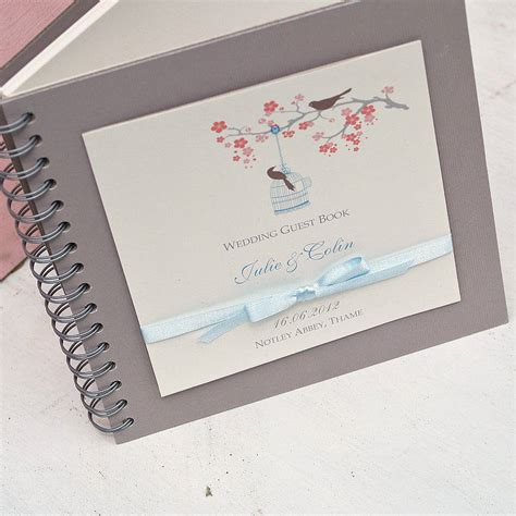 picture wedding guest book birds personalised wedding guest book by beautiful