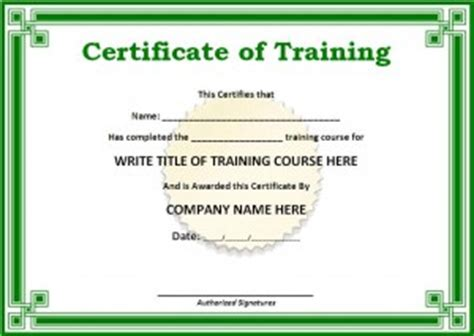 training certificate template free formats excel word