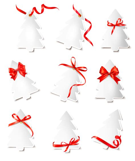 3d paper christmas tree with ribbon paper tree with ribbon cards vector 02 vector card vector vector