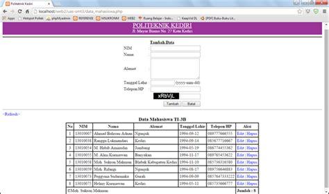 membuat web satu halaman membuat halaman web data mahasiswa pada satu halaman