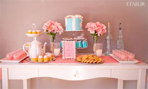 bridal shower table pretty in pink dessert table w tiffanys blue inspiration