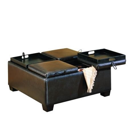 leather cocktail ottoman with storage trent home square faux leather storage cocktail ottoman in