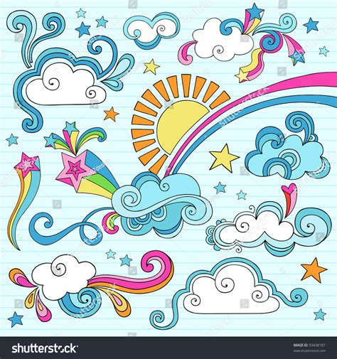 rainbow pattern doodle psychedelic groovy clouds sun and rainbow notebook