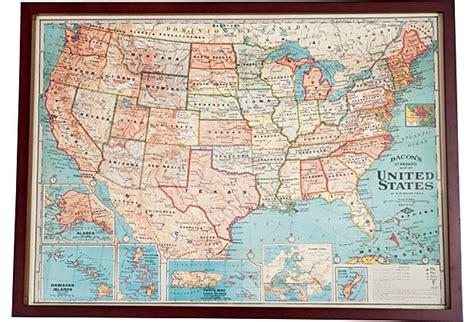 framed united states map