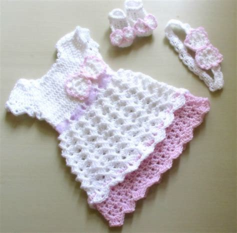 crochet pattern pink girl dress crochet baby dress baby dress headband and shoes crochet