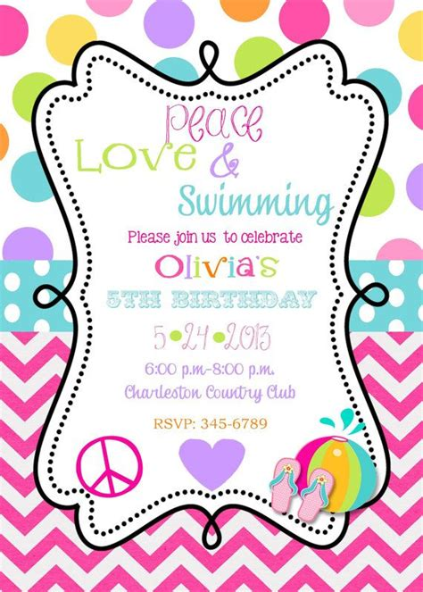 swimming invitations templates free 30 best images about ella s 7th birthday ideas on