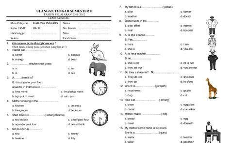 Software Cd Belajar Bahasa Inggris Sd Kelas 2 Original soal uts semester ii kelas 3 bahasa inggris