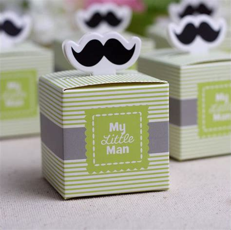 Baby Boy Souvenirs And Giveaways - 50pcs my little man cute mustache birthday boy baby shower favors boxes and bags baby