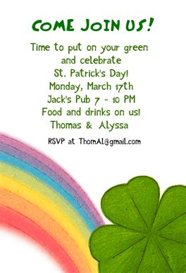 Clover And Rainbow Free Printable St Patricks Day Invitation Template Greetings Island St S Day Invitation Template