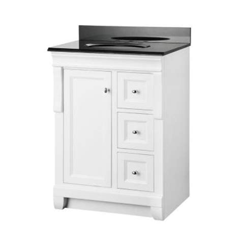 White Bathroom Vanity With Black Granite Top by Foremost Naples 25 In X 19 In Vanity In White And